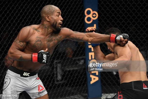 Bobby Green punches Drakkar Klose in their lightweight bout during the UFC Fight Night event at Fiserv Forum on December 15, 2018 in Milwaukee,...