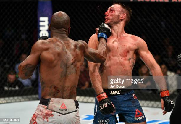 Bobby Green punches Lando Vannata in their lightweight bout during the UFC 216 event inside TMobile Arena on October 7 2017 in Las Vegas Nevada