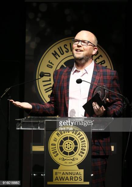 Bobby Gumm speaks onstage during the 8th Annual Guild of Music Supervisors Awards at The Theatre at Ace Hotel on February 8 2018 in Los Angeles...