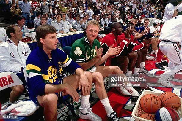 Bobby Hansen of the Utah Jazz Larry Bird of the Boston Celtics Michael Jordan Craig Hodges of the Chicago Bulls Craig Ehlo and Mark Price of the...