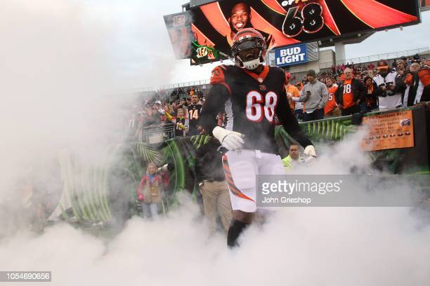 Bobby Hart of the Cincinnati Bengals runs on to the field after being introduced to the crowd prior to the start of the game against the Tampa Bay...