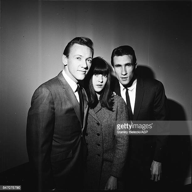 Bobby Hatfield and Bill Medley of The Righteous Brothers backstage with Ready Steady Go TV presenter Cathy McGowan London 1965