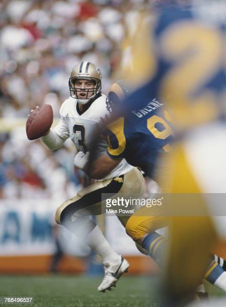 Bobby Hebert Quarterback for the New Orleans Saints runs the ball during the National Football Conference West game against the Los Angeles Rams on...