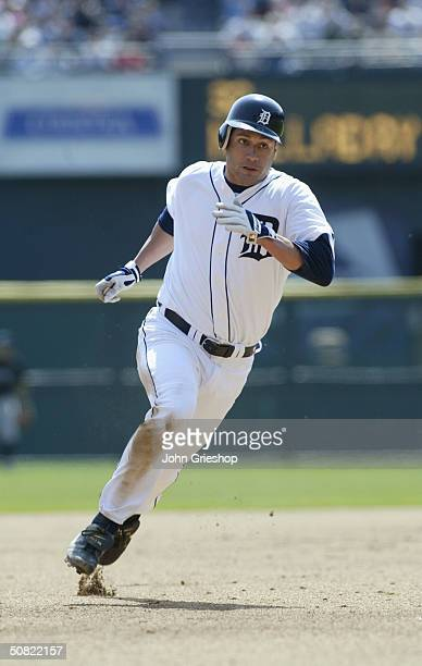 Bobby Higginson of the Detroit Tigers runs to third base during the MLB game against the Toronto Blue Jays at Comerica Park on April 15 2004 in...