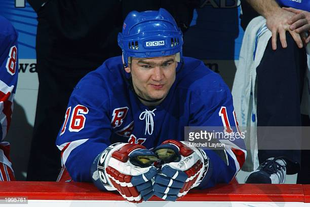 Bobby Holik of the New York Rangers looks on from the bench during the NHL game against the Washington Capitals at MCI Center on January 26 2003 in...