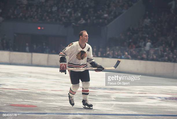 Bobby Hull of the Chicago Black Hawks skates during a game at Chicago Stadium circa 1968 in Chicago Illinois
