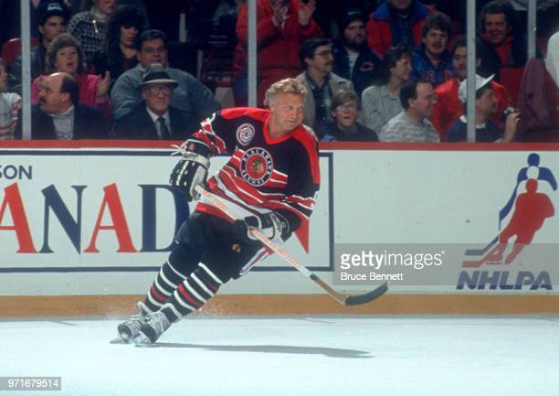 Bobby Hull of the Chicago Blackhawks Alumni team skates on the ice during the 1991 NHL AllStar Game weekend on January 18 1991 at Chicago Stadium in...