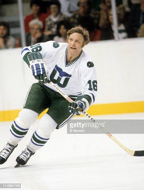 Bobby Hull of the Hartford Whalers skates on the ice during an NHL game circa 1980 at the Springfield Civic Center in Hartford Connecticut