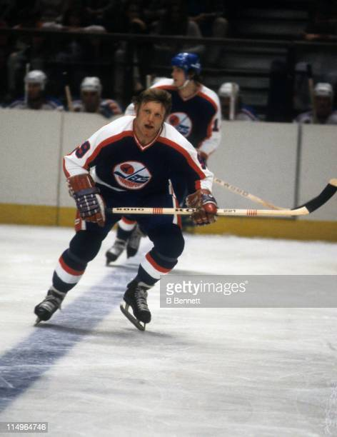Bobby Hull of the Winnipeg Jets skates on the ice during an NHL game against the New York Rangers on Novmeber 21 1979 at the Madison Square Garden in...