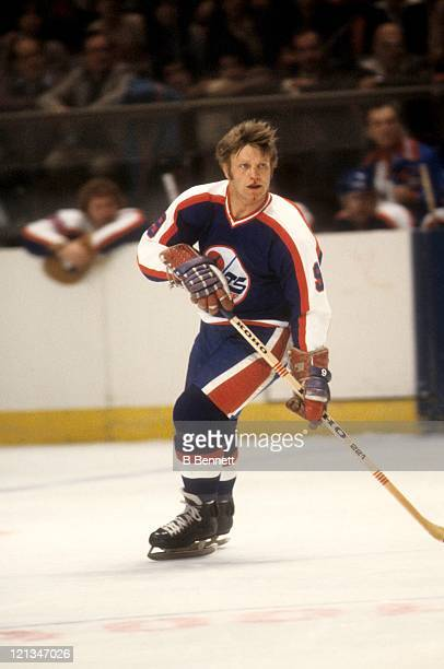 Bobby Hull of the Winnipeg Jets skates on the ice during an NHL game against the New York Rangers on November 21 1979 at the Madison Square Garden in...