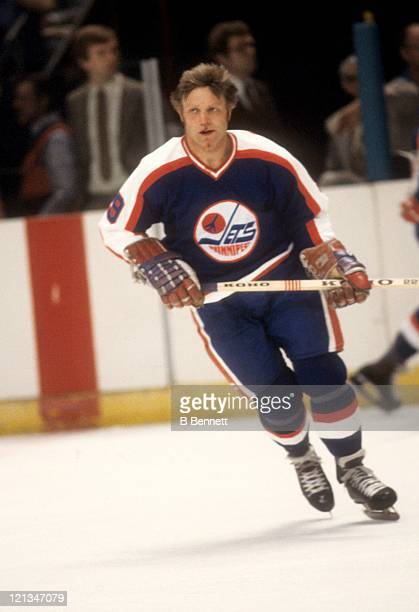 Bobby Hull of the Winnipeg Jets skates on the ice during an NHL game against the New York Rangers on November 21, 1979 at the Madison Square Garden...
