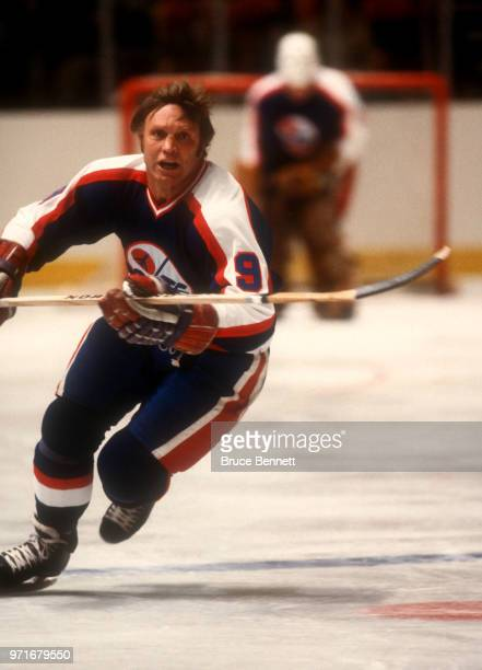 Bobby Hull of the Winnipeg Jets skates on the ice during an NHL game against the New York Rangers on November 11, 1979 at the Madison Square Garden...