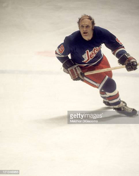 Bobby Hull of the Winnipeg Jets skates on the ice during an WHA game against the Houston Aeros circa 1976 at the Summit in Houston Texas