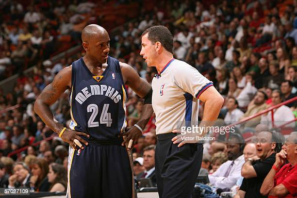 Bobby Jackson of the Memphis Grizzlies talks to referee Tim Donaghy during the game against the Miami Heat on January 24, 2006 at American Airlines...