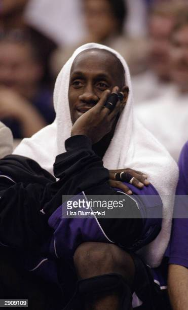 Bobby Jackson of the Sacramento Kings looks on from the sideline during the game against the Los Angeles Clippers at Staples Center on January 19...