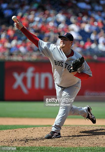 Bobby Jenks of the Boston Red Sox throws a pitch in the bottom of the ninth inning against the Philadelphia Phillies at Citizens Bank Park on June 30...
