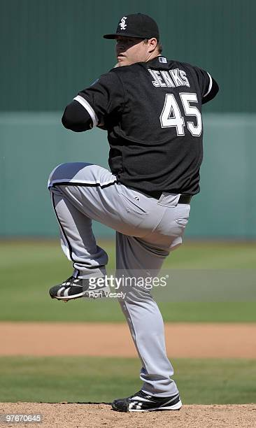 Bobby Jenks of the Chicago White Sox pitches against the Los Angeles Angels of Anaheim during a spring training game on March 12 2010 at Tempe Diablo...
