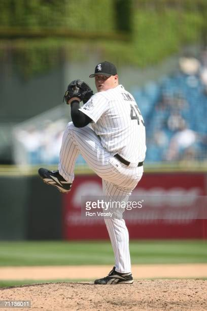 Bobby Jenks of the Chicago White Sox pitches during the game against the Seattle Mariners at US Cellular Field in Chicago Illinois on May 4 2006 The...