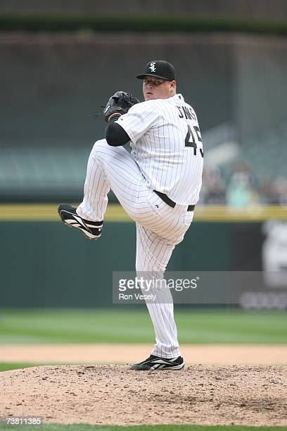 Bobby Jenks of the Chicago White Sox pitches during the game against the Cleveland Indians at US Cellular Field in Chicago Illinois on April 2 2007...