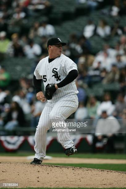 Bobby Jenks of the Chicago White Sox pitches during the opening day game against the Cleveland Indians on April 2 2007 at US Cellular Field in...