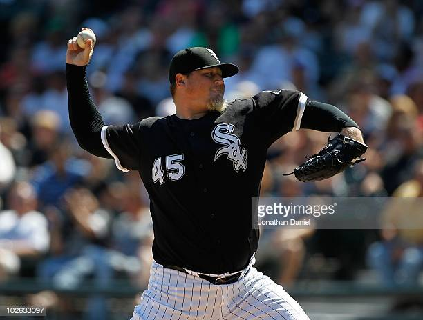 Bobby Jenks of the Chicago White Sox pitches in the 9th inning against the Atlanta Braves to record a save at US Cellular Field on June 24 2010 in...