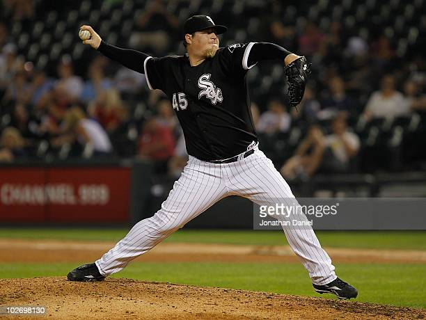 Bobby Jenks of the Chicago White Sox pitches in the 9th inning against the Los Angeles Angels of Anaheim at US Cellular Field on July 7 2010 in...