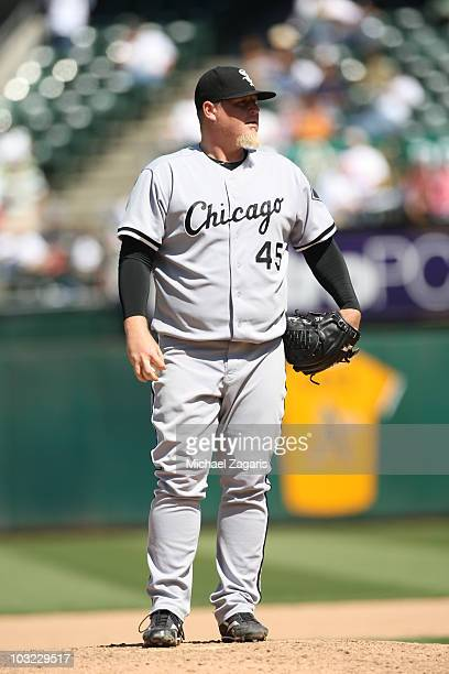 Bobby Jenks of the Chicago White Sox standing on the mound during the game against the Oakland Athletics at the OaklandAlameda County Coliseum on...