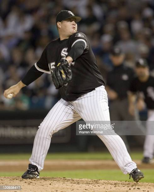 Bobby Jenks pitches in relief of Jon Garland during game action at US Cellular Field Chicago Illinois on August 30 2006 The White Sox defeated the...