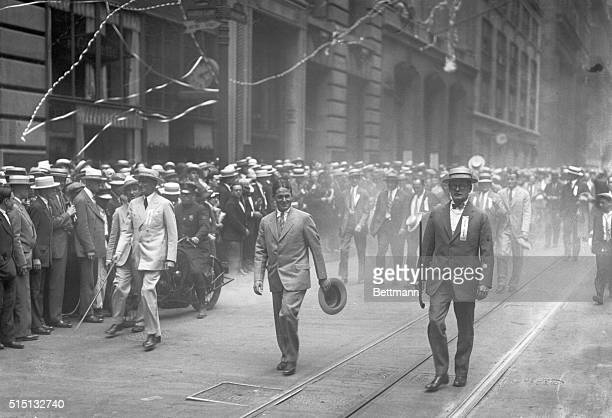 Bobby Jones American golfer who copped the British Open golf championship in 1926 seen leading the welcome home parade up Broadway from the Battery...