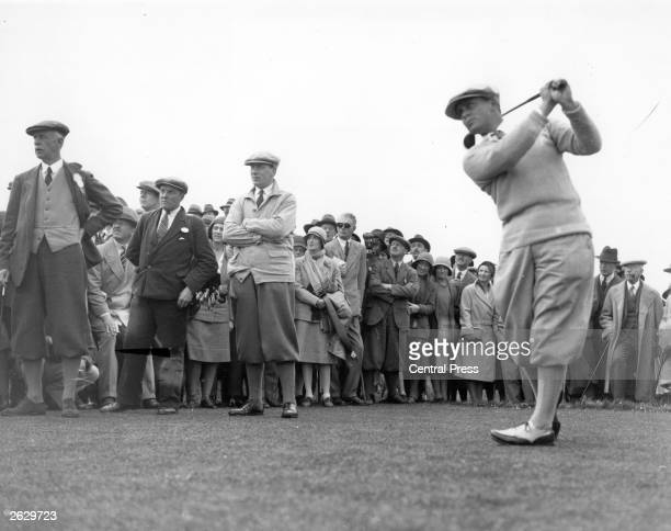 Bobby Jones champion American golfer who won the British Open three times and the US Open four times in action during a match Original Publication...