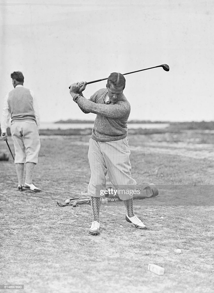 Bobby Jones Practcing Golf Swinf Prior To Tee Off Tournament