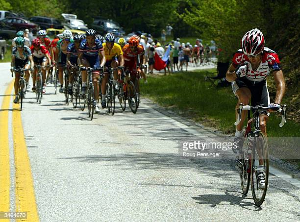 Bobby Julich of the US riding for CSC attacks and momentarily breaks away from the group of the yellow jersey of Lance Armstrong during Stage 6 of...