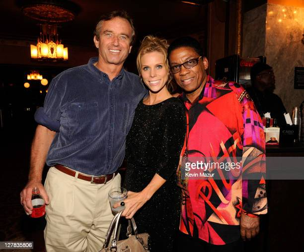 Bobby Kennedy Jr, Cheryl Hines and Herbie Hancock backstage during STING: 25th Anniversary/60th Birthday Concert to Benefit Robin Hood Foundation at...