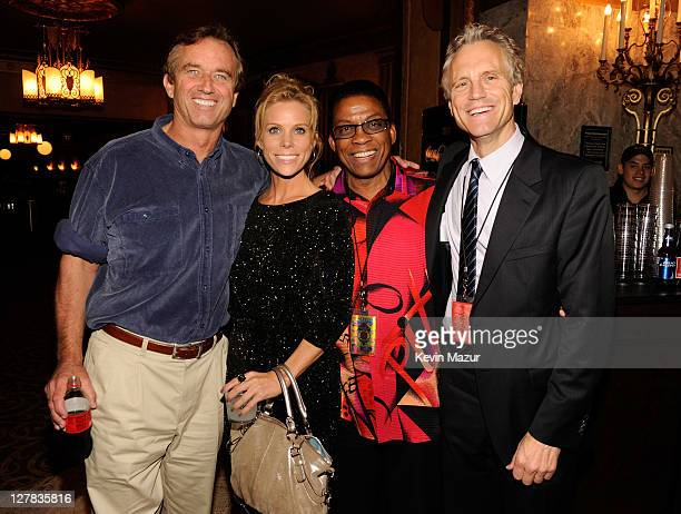 Bobby Kennedy Jr, Cheryl Hines, Herbie Hancock and John Sykes backstage during STING: 25th Anniversary/60th Birthday Concert to Benefit Robin Hood...