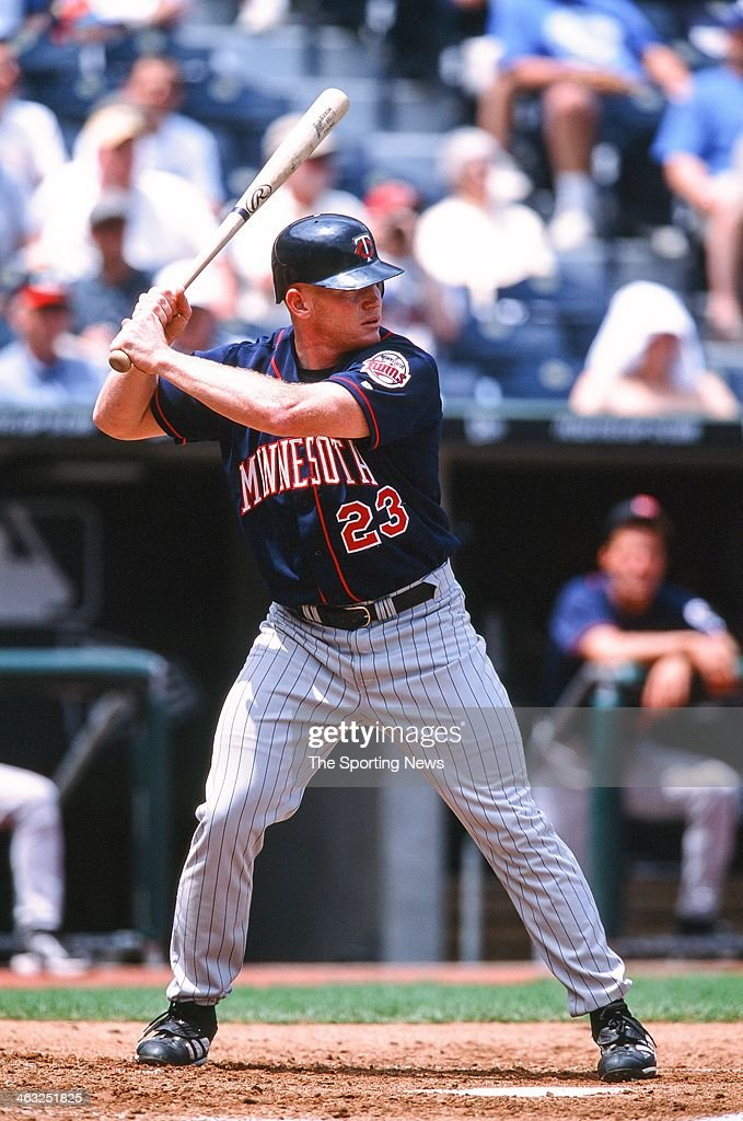 Bobby Kielty of the Minnesota Twins bats during the game against the Kansas City Royals on May 16, 2002 at Kauffman Stadium in Kansas City, Missouri.