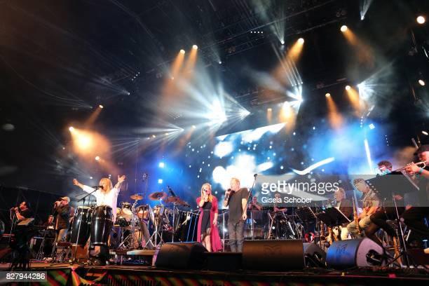 Bobby Kimball Chris Thompson Leslie Mandoki Julia Mandoki Nick van Eede John Helliwell and Man Doki Soulmates perform during the Sziget Festival at...