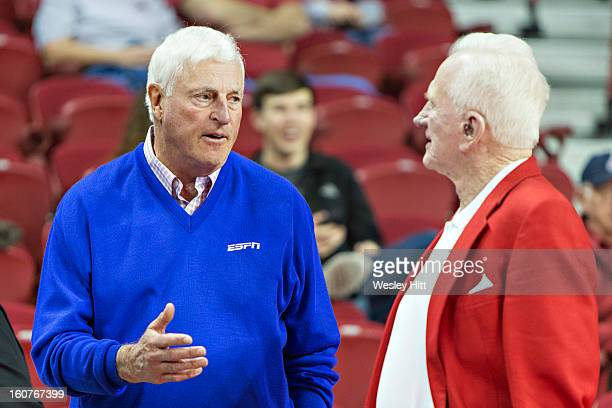 Bobby Knight and former Athletic Director for the Arkansas Razorbacks Frank Broyles talk before a game against the Tennessee Volunteers at Bud Walton...