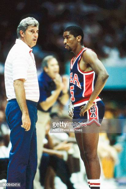 Bobby Knight Leon Wood Men's Basketball USA vs Spain the Forum at the 1984 Summer Olympics August 10 1984