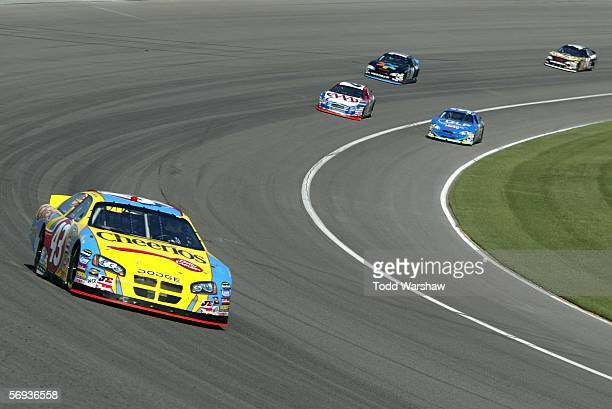 Bobby Labonte driver of the Cheerios/Betty Crocker Dodge drives during practice for the NASCAR Nextel Cup Series Auto Club 500 on February 25 2006 at...