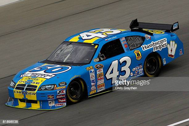 Bobby Labonte driver of the Cheerios/Betty Crocker Dodge drives during practice for the NASCAR Sprint Cup Series LifeLockcom 400 on July 10 2008 at...