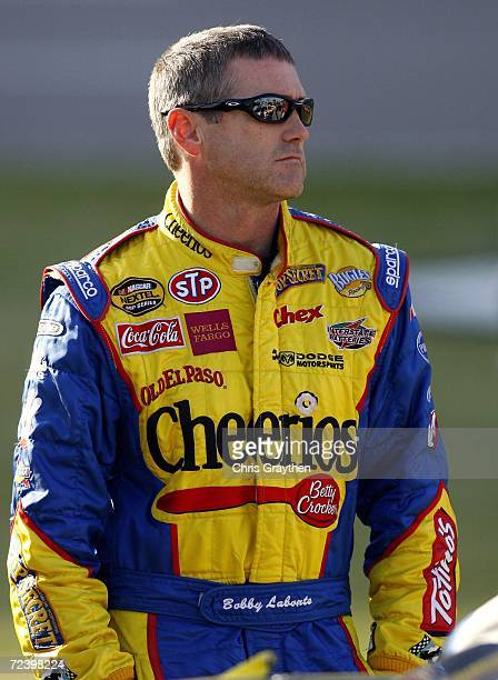 Bobby Labonte driver of the Cheerios/Betty Crocker Dodge looks on while on pit road during qualifying for the NASCAR Nextel Cup Series Dickies 500 on...