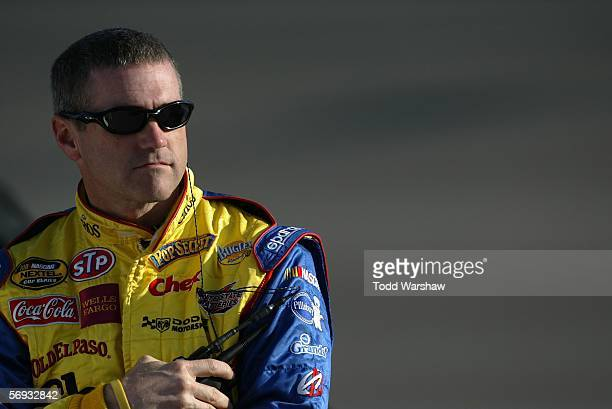 Bobby Labonte driver of the Cheerios/Betty Crocker Dodge prepares to drive during the NASCAR Nextel Cup Series Auto Club 500 qualifying on February...