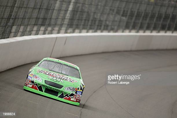 Bobby Labonte driver of the Joe Gibbs Racing Chevrolet Monte Carlo on track during practice for the NASCAR Winston Cup AUTO CLUB 500 on April 25 2003...