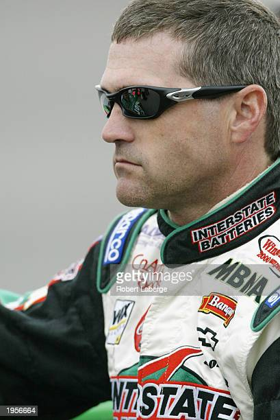 Bobby Labonte driver of the Joe Gibbs Racing Chevrolet Monte Carlo waits for his qualifying run for the NASCAR Winston Cup AUTO CLUB 500 on April 25...