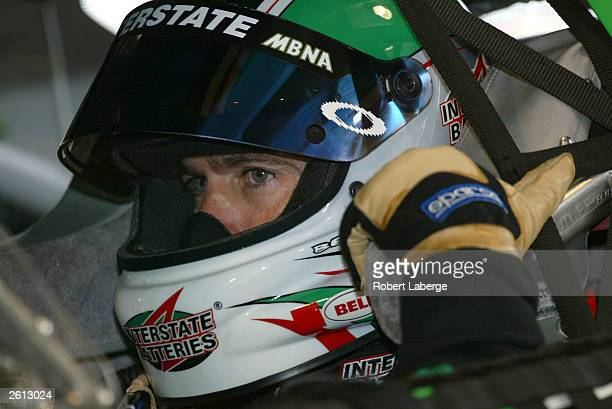 Bobby Labonte driver of the Joe Gibbs Racing Interstate Batteries Chevrolet in his car during practice for the NASCAR Winston Cup Subway 500 on...