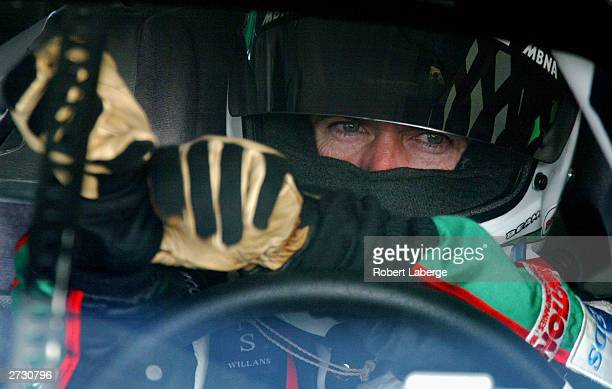 Bobby Labonte driver of the Joe Gibbs Racing Interstate Batteries Chevrolet gets ready for practice for the NASCAR Winston Cup Ford 400 at the...