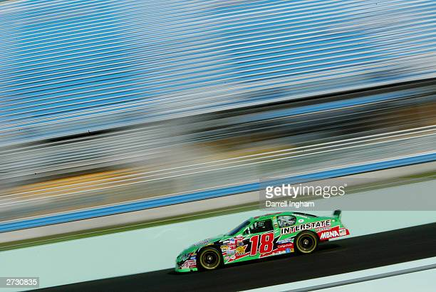 Bobby Labonte driver of the Joe Gibbs Racing Interstate Chevrolet during qualifying for the NASCAR Winston Cup Ford 400 on November 15 2003 at...