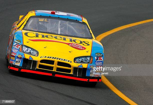 Bobby Labonte drives the Cheerios/Betty Crocker Dodge during practice for the NASCAR Nextel Cup Series Sylvania 300 on September 15 2006 at New...
