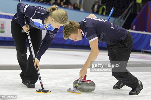 Bobby Lammie and Sophie Jackson of Scotland are seen during final game between Scotland and Korea within the World Mixed Curling Championship 2016 at...