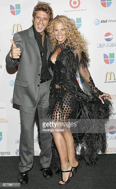 Bobby Larios and Niurka Marcos during Premios Juventud Awards Press Room at James L Knight Center in Miami Florida United States